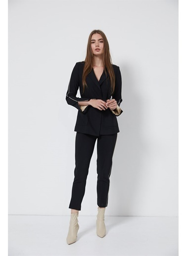 Setre Mavi-Beyaz Ceket Pantolon Takım  Siyah